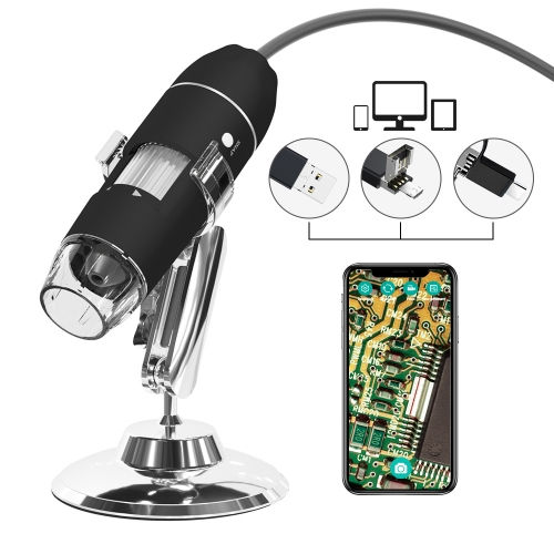 YPC-X02 1080P HD Real Resolution 1000x Magnification 8 LED USB Digital Microscope Compatible with Mac Window 7 8 10 Android